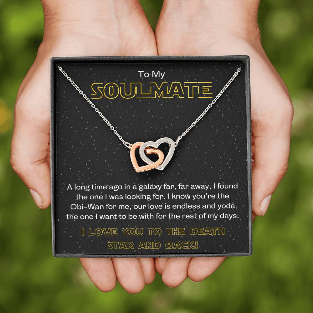 "TO MY SOULMATE ""GALAXY"" INTERLOCKING HEARTS NECKLACE GIFT SET - ON CLOUD NINE GIFTS"