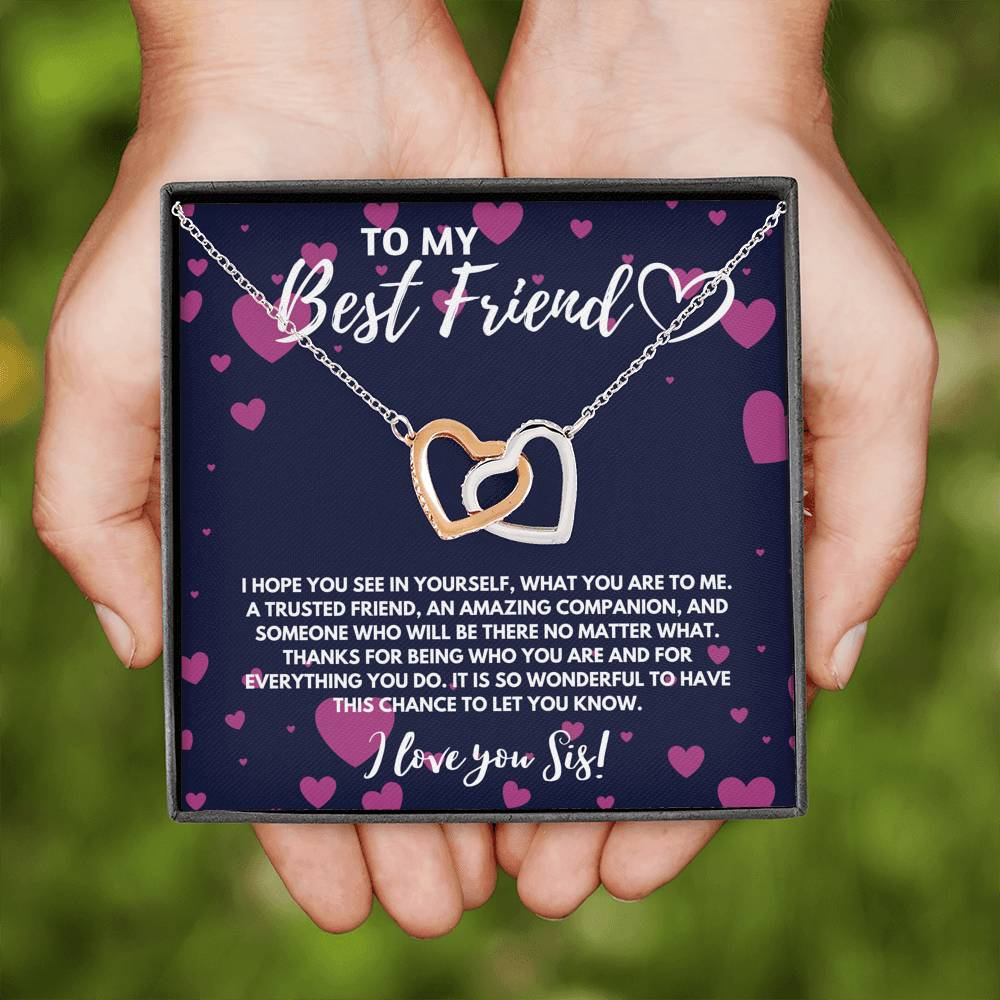 TO MY BEST FRIEND INTERLOCKING HEART NECKLACE GIFT SET - ON CLOUD NINE GIFTS