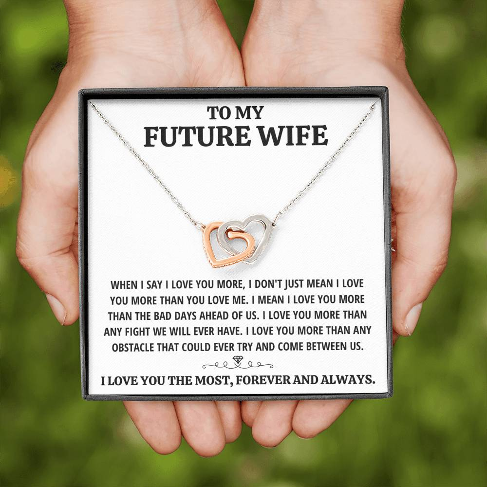 "TO MY FUTURE WIFE ""THE MOST - WHITE"" INTERLOCKING HEARTS NECKLACE GIFT SET - ON CLOUD NINE GIFTS"