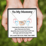 "TO MY MOMMY ""BABY FEET - WHITE"" INTERLOCKED HEARTS NECKLACE GIFT SET - ON CLOUD NINE GIFTS"