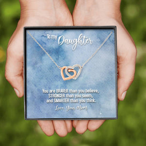 "TO MY DAUGHTER ""BRAVER - SO"" INTERLOCKING HEARTS NECKLACE GIFT SET - ON CLOUD NINE GIFTS"