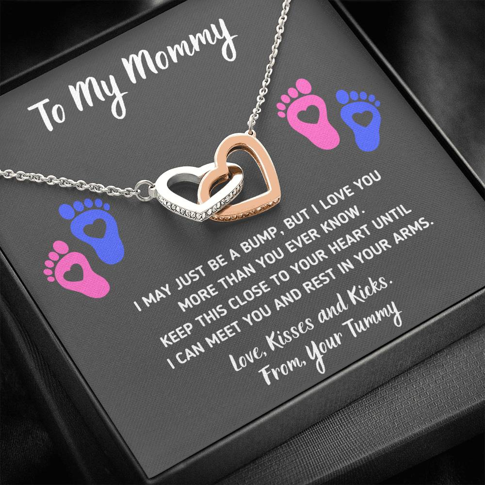 "TO MY MOMMY ""HEART-FEET"" INTERLOCKING HEARTS NECKLACE GIFT SET - ON CLOUD NINE GIFTS"
