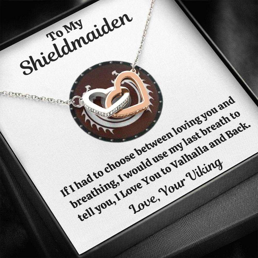 "TO MY SHIELDMAIDEN ""BREATHING - RED"" INTERLOCKING HEARTS NECKLACE GIFT SET - ON CLOUD NINE GIFTS"