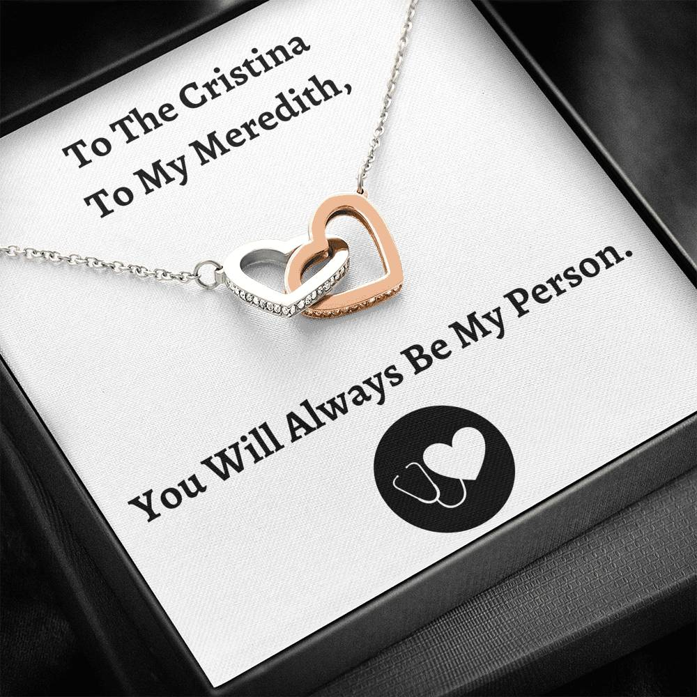 "TO MY PERSON ""CRISTINA AND MEREDITH"" INTERLOCKING HEARTS NECKLACE GIFT SET - ON CLOUD NINE GIFTS"