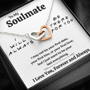"TO MY SOULMATE ""THERE FOR YOU - LAST EVERYTHING"" INTERLOCKING HEARTS NECKLACE GIFT SET - ON CLOUD NINE GIFTS"