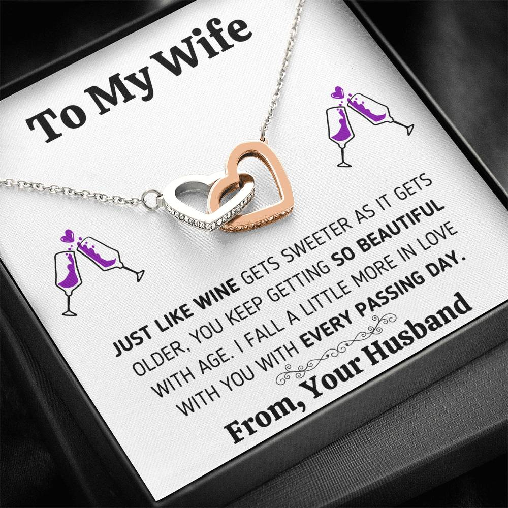 "TO MY WIFE ""JUST LIKE WINE"" INTERLOCKING HEARTS NECKLACE GIFT SET - ON CLOUD NINE GIFTS"