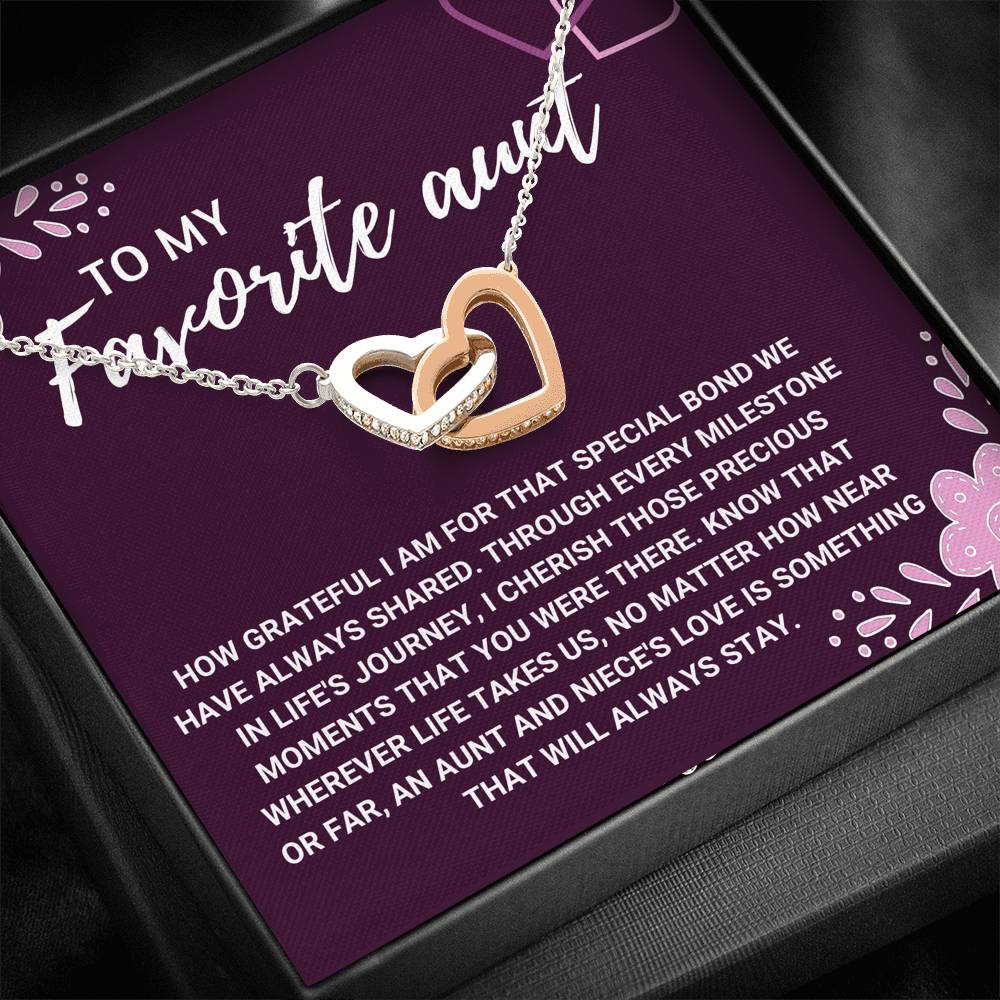 "TO MY FAVORITE AUNT ""LOVE WILL ALWAYS STAY"" INTERLOCKING HEART NECKLACE GIFT SET - ON CLOUD NINE GIFTS"