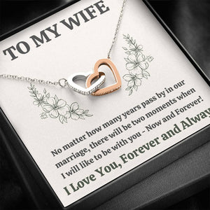 "TO MY WIFE ""MOMENTS"" INTERLOCKING HEARTS NECKLACE GIFT SET - ON CLOUD NINE GIFTS"