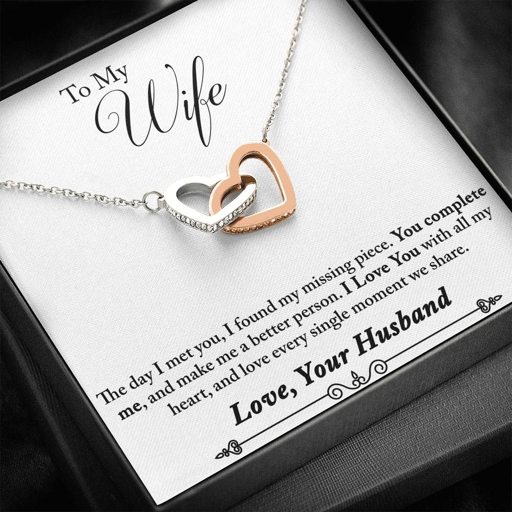 "TO MY WIFE ""MISSING PIECE - SO"" INTERLOCKING HEARTS NECKLACE GIFT SET - ON CLOUD NINE GIFTS"