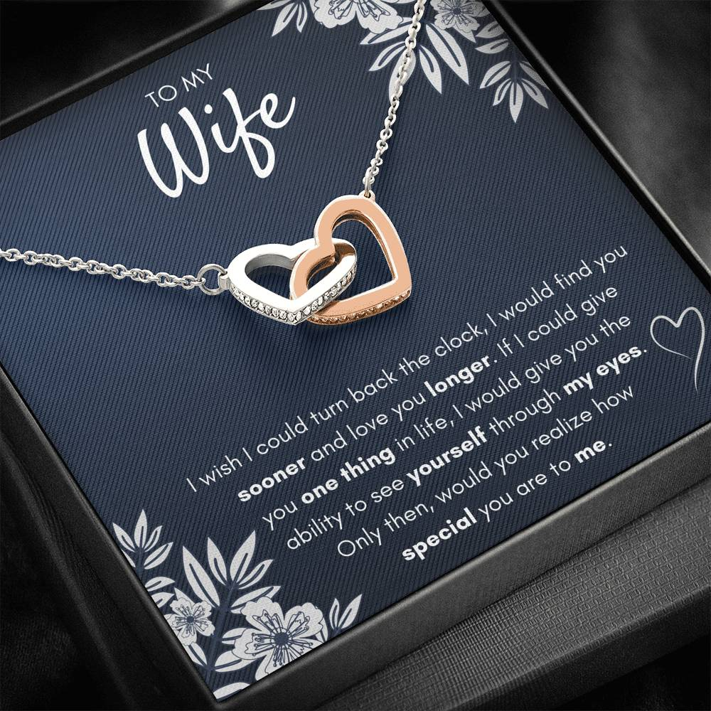 "TO MY WIFE ""FIND YOU SOONER"" INTERLOCKING HEARTS NECKLACE GIFT SET - ON CLOUD NINE GIFTS"