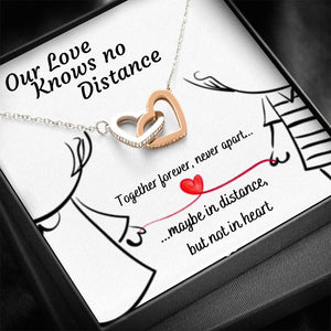 OUR LOVE KNOWS NO DISTANCE INTERLOCKING NECKLACE | MESSAGE CARD | GIFT BOX - ON CLOUD NINE GIFTS