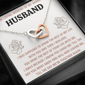 "TO MY HUSBAND ""LIFE"" REMEMBRANCE INTERLOCKING HEARTS NECKLACE GIFT SET - ON CLOUD NINE GIFTS"