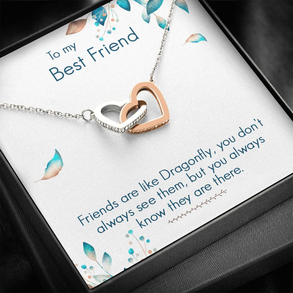 "TO MY BEST FRIEND ""DRAGONFLY"" INTERLOCKING HEARTS NECKLACE GIFT SET - ON CLOUD NINE GIFTS"