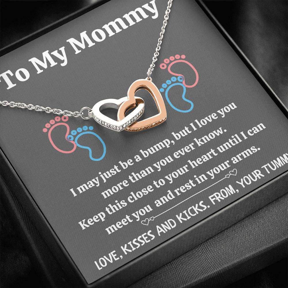 "TO MY MOMMY ""BABY FEET - GRAY"" INTERLOCKING HEARTS NECKLACE GIFT SET - ON CLOUD NINE GIFTS"
