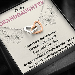 "TO MY GRANDDAUGHTER ""CALLED GRANDMA"" INTERLOCKING HEARTS NECKLACE GIFT SET - ON CLOUD NINE GIFTS"
