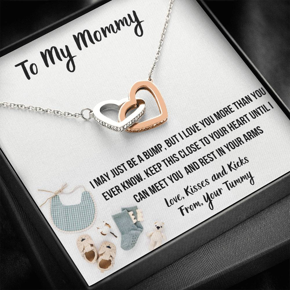 "TO MY MOMMY ""BABY FASHION"" INTERLOCKING HEARTS NECKLACE GIFT SET - ON CLOUD NINE GIFTS"