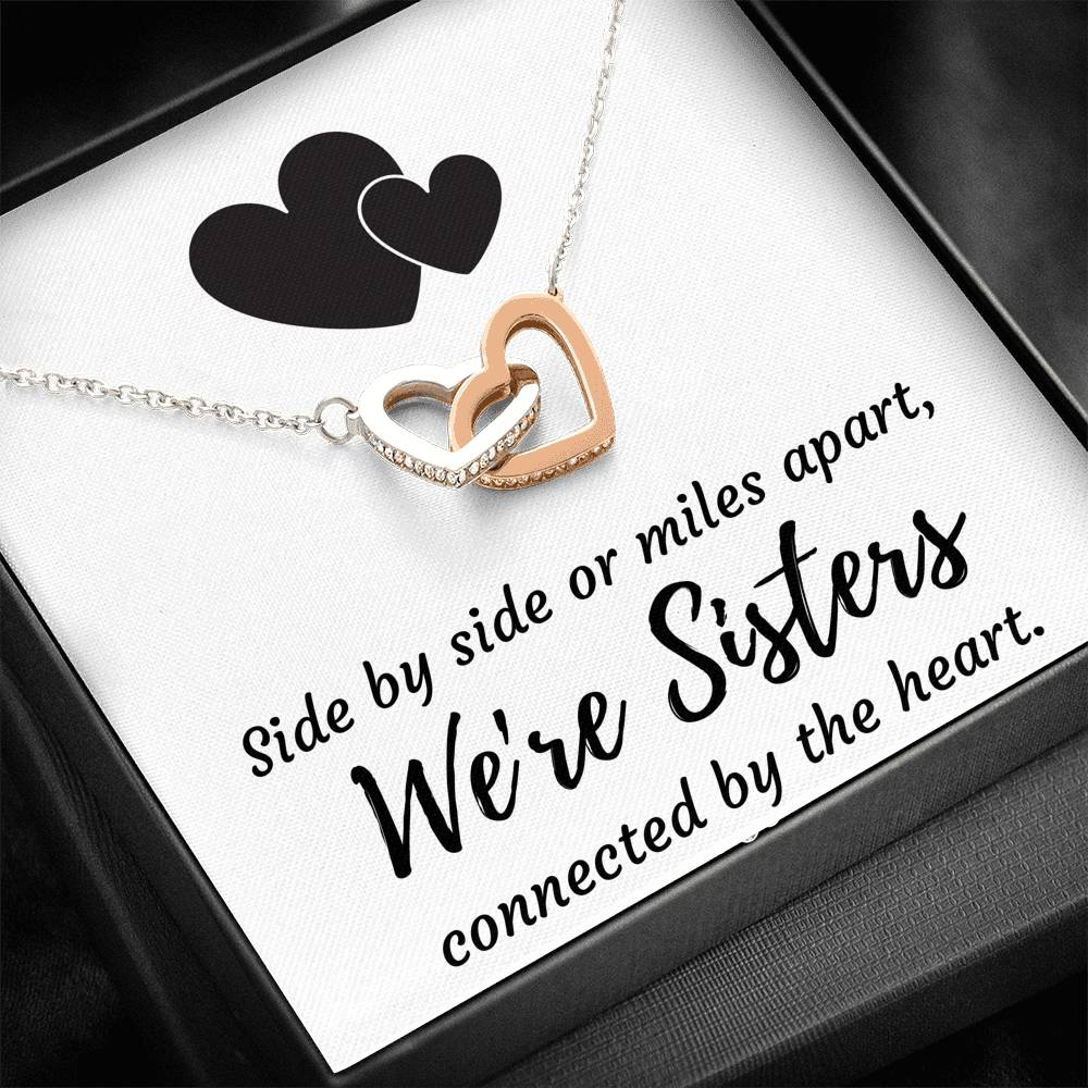 SISTERS CONNECTED BY THE HEART INTERLOCKING NECKLACE GIFT SET - ON CLOUD NINE GIFTS
