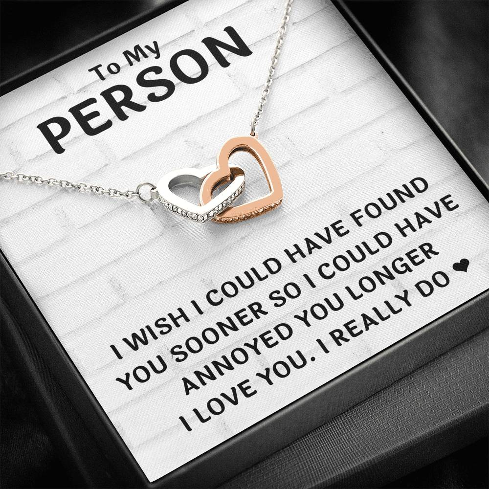 "TO MY PERSON ""FOUND YOU SOONER"" INTERLOCKING HEARTS NECKLACE GIFT SET - ON CLOUD NINE GIFTS"