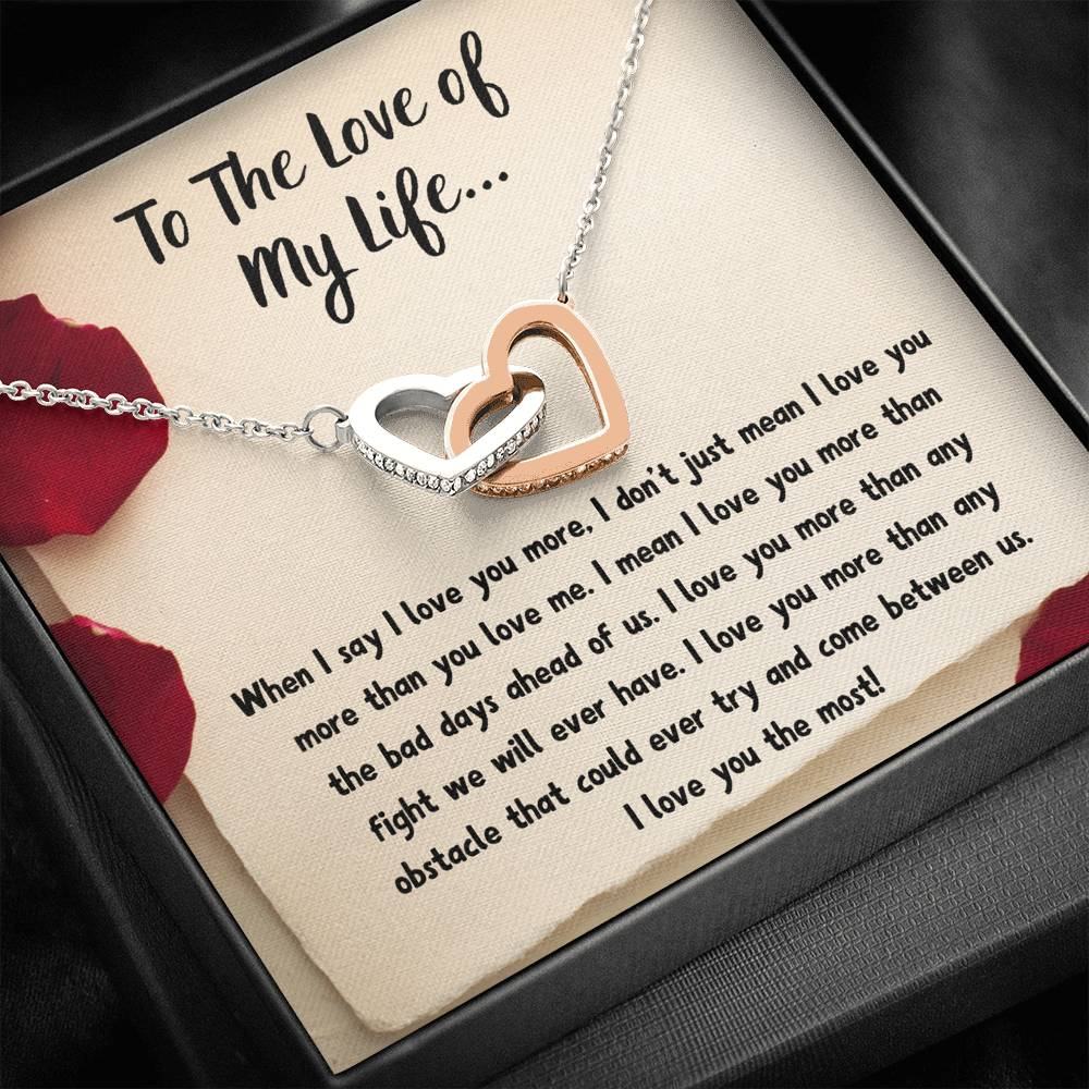"TO THE LOVE OF MY LIFE ""LOVE NOTE"" INTERLOCKING HEARTS NECKLACE GIFT SET - ON CLOUD NINE GIFTS"