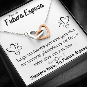 "PARA MI FUTURA ESPOSA ""MIL MANERAS"" INTERLOCKING HEARTS NECKLACE GIFT SET - ON CLOUD NINE GIFTS"