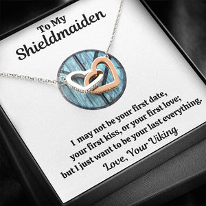 "TO MY SHIELDMAIDEN ""LAST EVERYTHING - BLUE"" INTERLOCKING HEARTS NECKLACE GIFT SET - ON CLOUD NINE GIFTS"