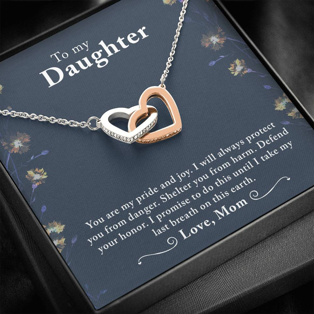 "TO MY DAUGHTER ""LAST BREATH"" INTERLOCKING HEARTS NECKLACE GIFT SET - ON CLOUD NINE GIFTS"