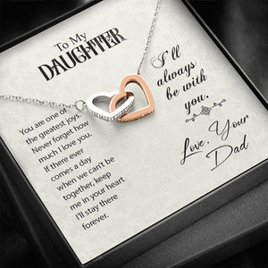 "TO MY DAUGHTER ""GREATEST JOYS"" INTERLOCKING HEARTS NECKLACE GIFT SET - ON CLOUD NINE GIFTS"