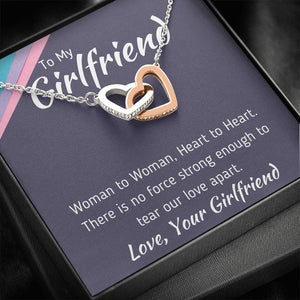 "TO MY GIRLFRIEND ""WOMAN TO WOMAN"" INTERLOCKING NECKLACE GIFT SET - ON CLOUD NINE GIFTS"
