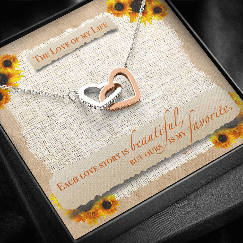 "TO THE LOVE OF MY LIFE ""SUNFLOWER"" INTERLOCKING HEARTS NECKLACE GIFT SET - ON CLOUD NINE GIFTS"
