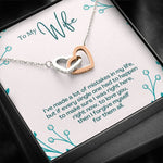 "TO MY WIFE ""MISTAKES - SO"" INTERLOCKING HEARTS NECKLACE GIFT SET - ON CLOUD NINE GIFTS"