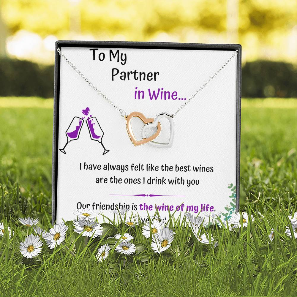TO MY PARTNER IN WINE INTERLOCKING NECKLACE | MESSAGE CARD | GIFT BOX - ON CLOUD NINE GIFTS