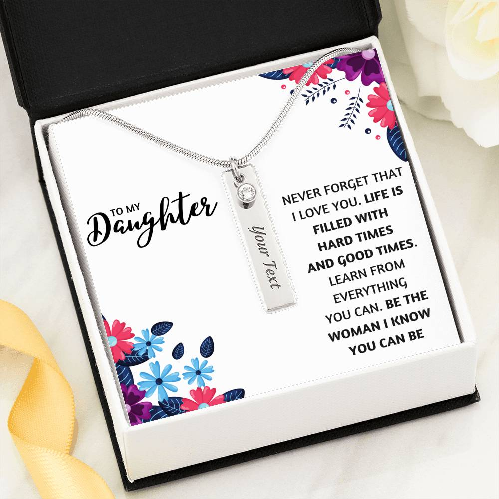 TO MY DAUGHTER BIRTHSTONE CUSTOM NAME NECKLACE | MESSAGE CARD | GIFT BOX - ON CLOUD NINE GIFTS