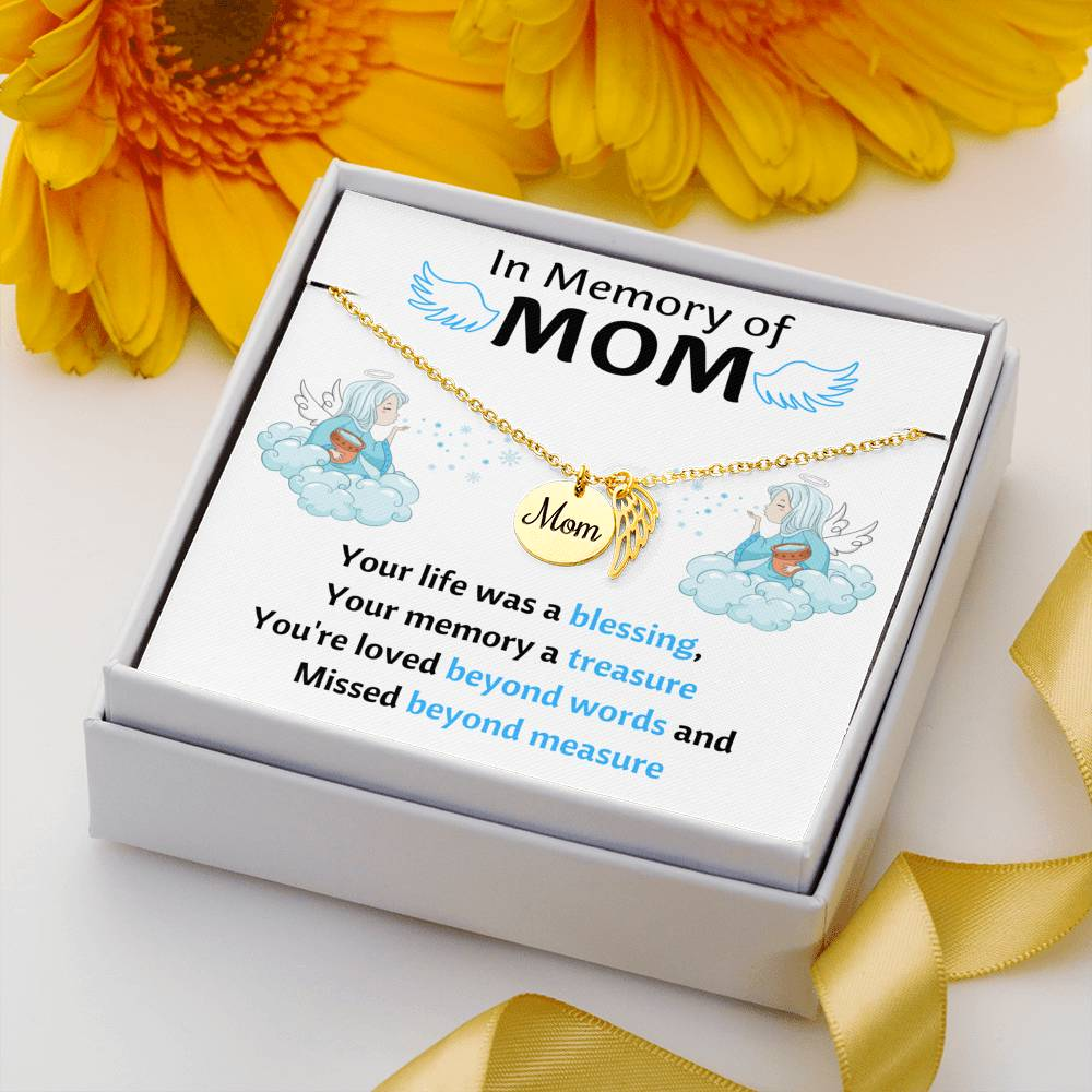IN MEMORY OF MOM MEMORIAL NECKLACE | MESSAGE CARD | GIFT BOX - ON CLOUD NINE GIFTS