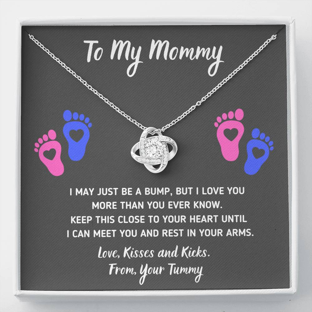 "TO MY MOMMY ""HEART-FEET"" LOVE KNOT NECKLACE GIFT SET - ON CLOUD NINE GIFTS"