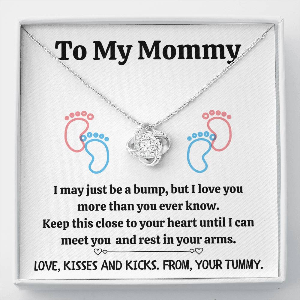 "TO MY MOMMY ""BABY FEET - WHITE"" LOVE KNOT NECKLACE GIFT SET - ON CLOUD NINE GIFTS"