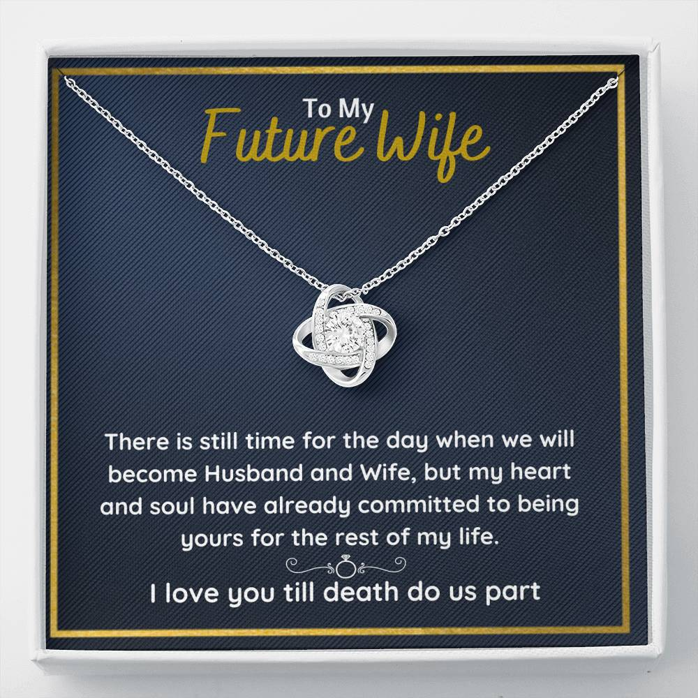 "TO MY FUTURE WIFE ""COMMITTED"" LOVE KNOT NECKLACE GIFT SET - ON CLOUD NINE GIFTS"