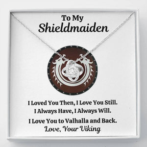 "TO MY SHIELDMAIDEN ""ALWAYS WILL - RED"" LOVE KNOT NECKLACE GIFT SET - ON CLOUD NINE GIFTS"