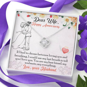 "DEAR WIFE ""BREATHING"" LOVE KNOT NECKLACE ANNIVERSARY GIFT SET - ON CLOUD NINE GIFTS"