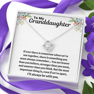 "TO MY GRANDDAUGHTER ""STRONGER THAN YOU SEEM"" LOVE KNOT NECKLACE GIFT SET - ON CLOUD NINE GIFTS"