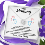 "DEAR MOMMY ""SPOILING BABY-FEET WHITE"" LOVE KNOT NECKLACE GIFT SET - ON CLOUD NINE GIFTS"