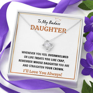 "TO MY BADASS DAUGHTER ""CRAP - WHITE"" LOVE KNOT NECKLACE GIFT SET - ON CLOUD NINE GIFTS"
