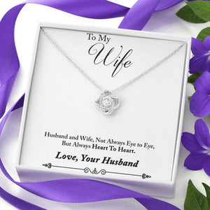 "TO MY WIFE ""HEART TO HEART - SO"" LOVE KNOT NECKLACE GIFT SET - ON CLOUD NINE GIFTS"
