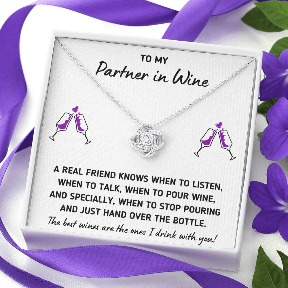 "TO MY PARTNER IN WINE ""HAND OVER THE BOTTLE"" LOVE KNOT NECKLACE GIFT SET - ON CLOUD NINE GIFTS"