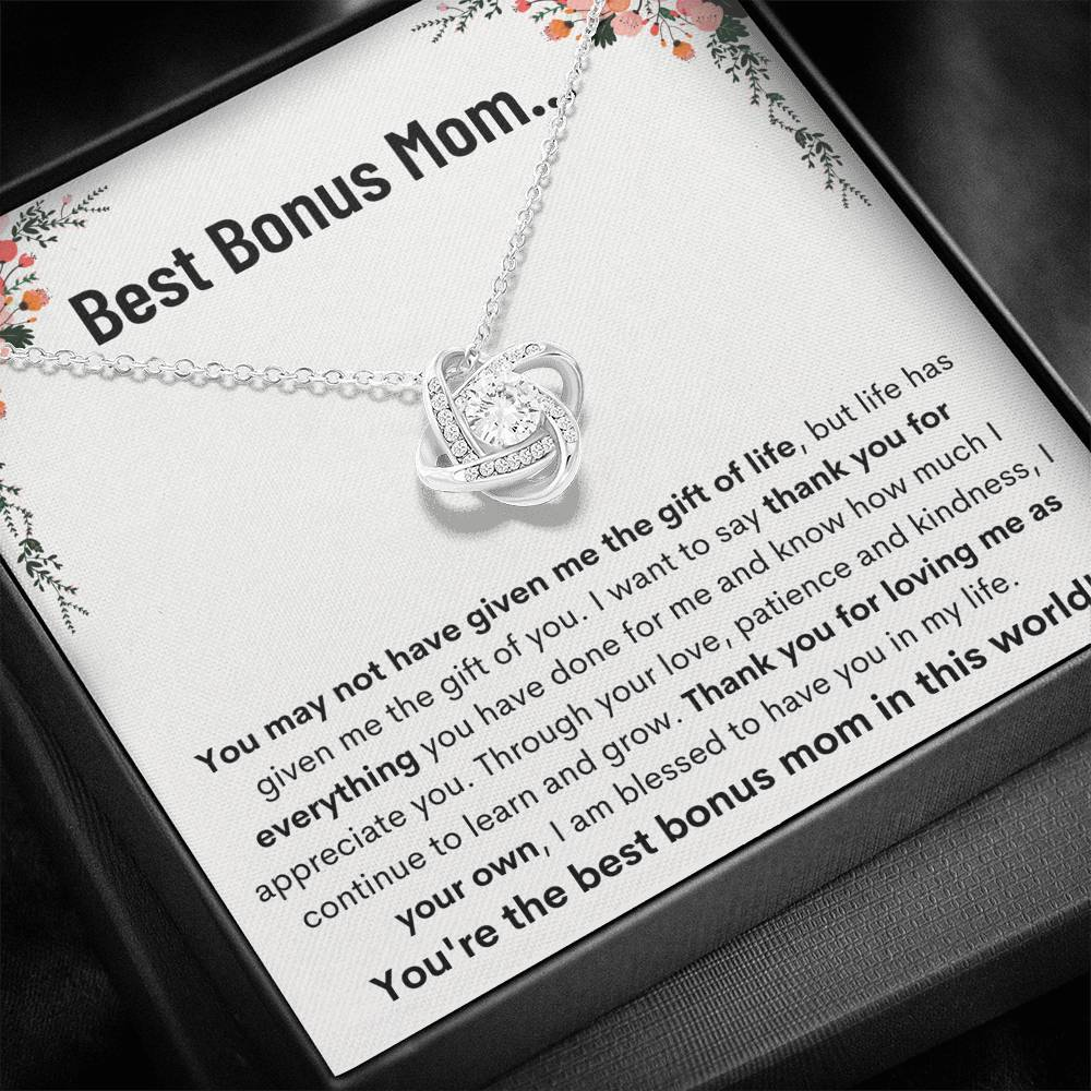 "BEST BONUS MOM ""LEARN AND GROW"" LOVE KNOT NECKLACE GIFT SET - ON CLOUD NINE GIFTS"