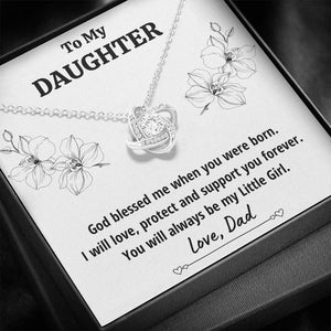 "TO MY DAUGHTER FROM DAD ""LITTLE GIRL"" LOVE KNOT NECKLACE GIFT SET - ON CLOUD NINE GIFTS"