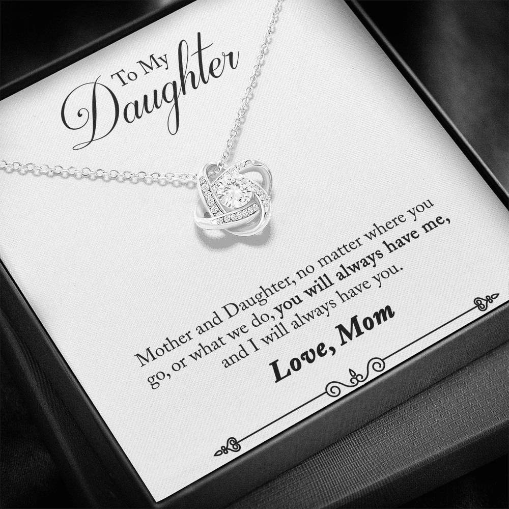 "TO MY DAUGHTER ""HAVE YOU - SO"" LOVE KNOT NECKLACE GIFT SET - ON CLOUD NINE GIFTS"