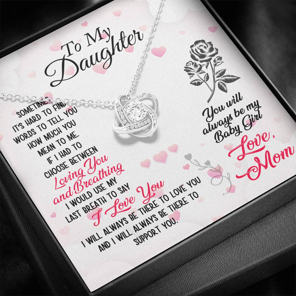 "TO MY DAUGHTER ""BREATHING"" LOVE KNOT NECKLACE GIFT SET - ON CLOUD NINE GIFTS"