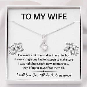 "TO MY WIFE ""MISTAKES"" ALLURING BEAUTY NECKLACE GIFT SET - ON CLOUD NINE GIFTS"