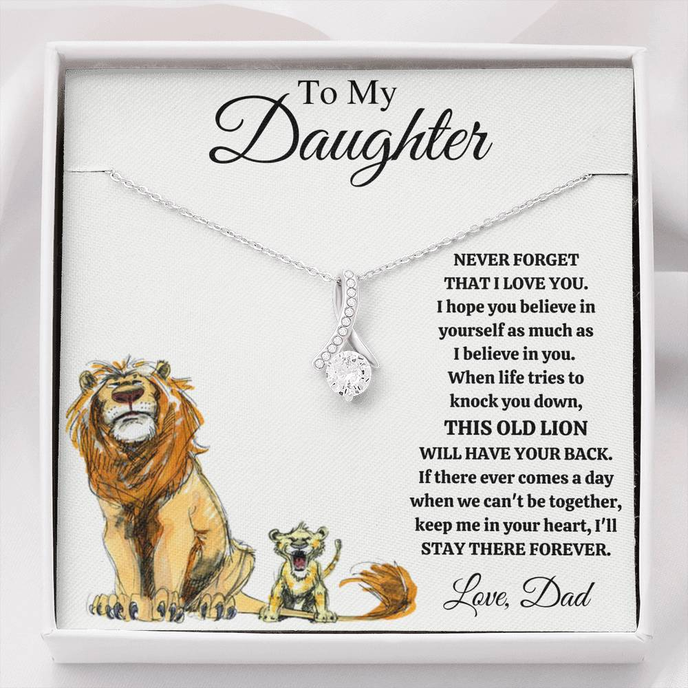"TO MY DAUGHTER ""THIS OLD LION - DRAWING"" ALLURING BEAUTY NECKLACE GIFT SET - ON CLOUD NINE GIFTS"