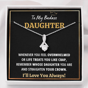 "TO MY BADASS DAUGHTER ""CRAP - BLACK"" ALLURING BEAUTY NECKLACE GIFT SET - ON CLOUD NINE GIFTS"